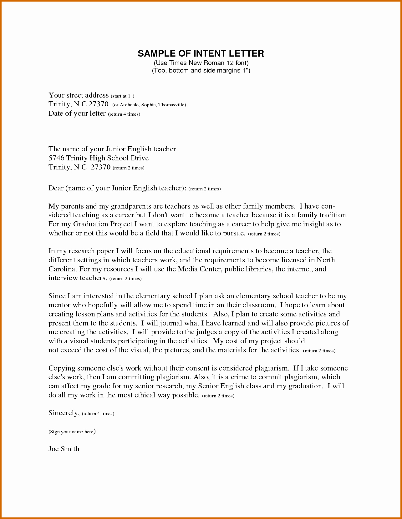 Intent Letter format