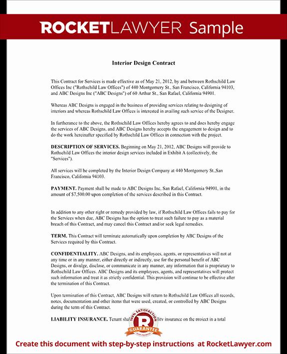 Interior Design Contract Agreement Sample