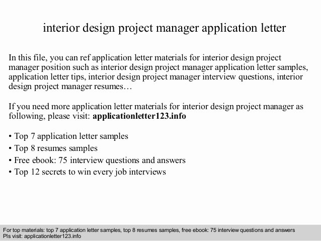 Interior Design Project Manager Cover Letter