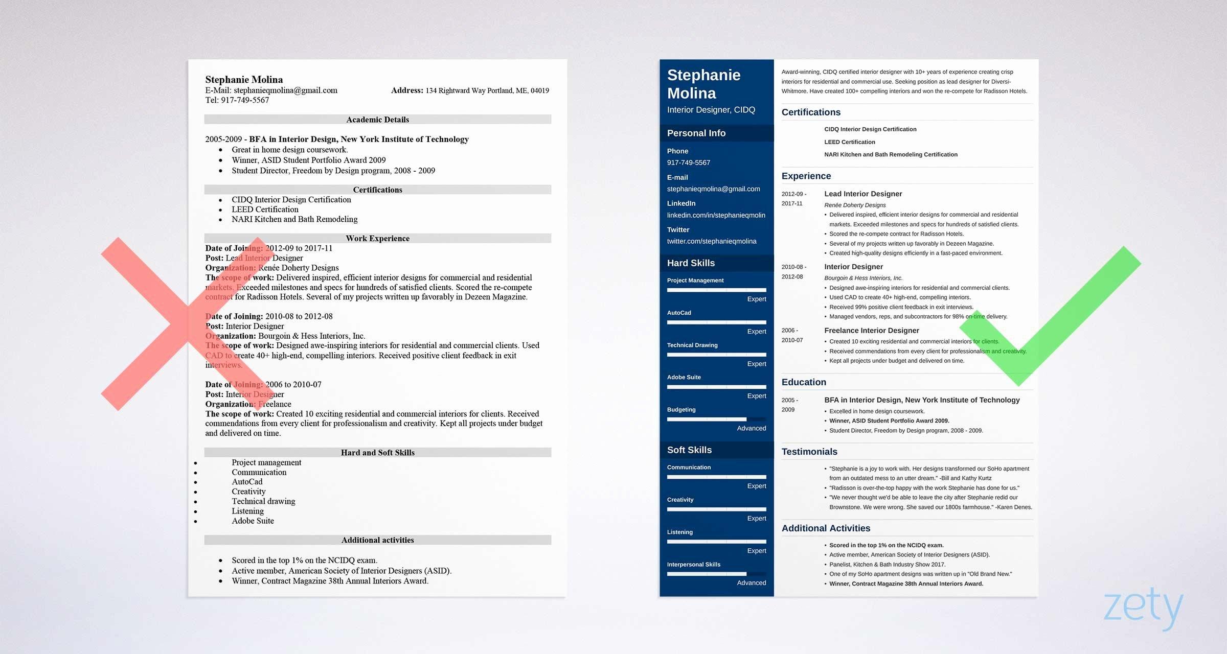 Interior Design Resume Sample and Plete Guide [ 20