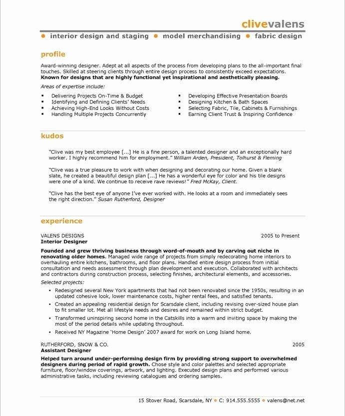 Interior Design Sample Resume Student