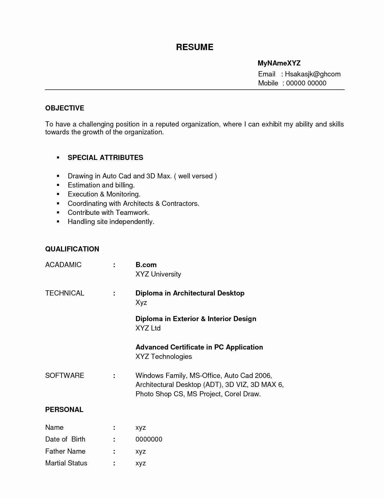 Interior Designer Resume for Fresher Sidemcicek