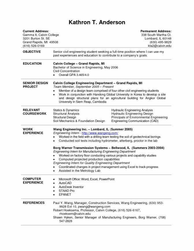 Intern Resume Sample Chemical Engineering Internship