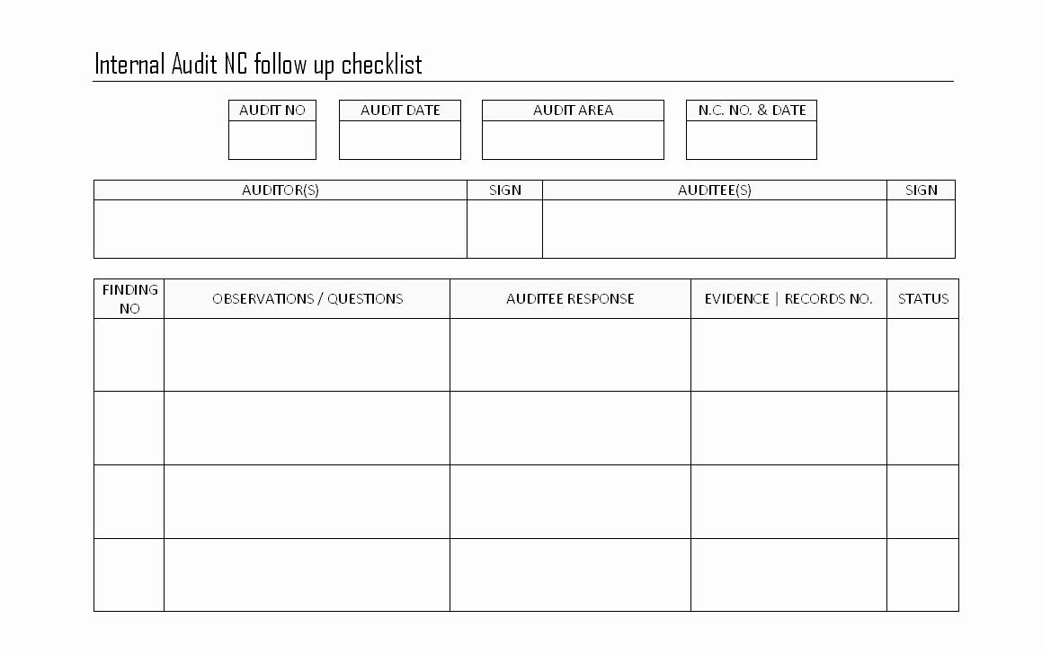 Internal Audit Follow Up Checklist Finding Procedures