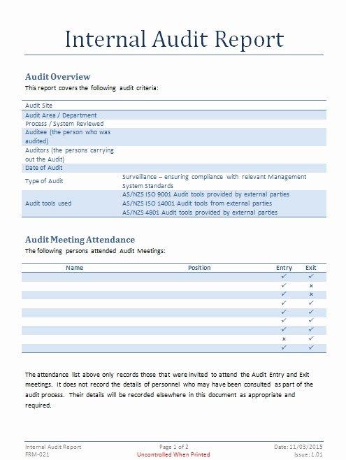Internal Audit Report Template Internal Audit Documents