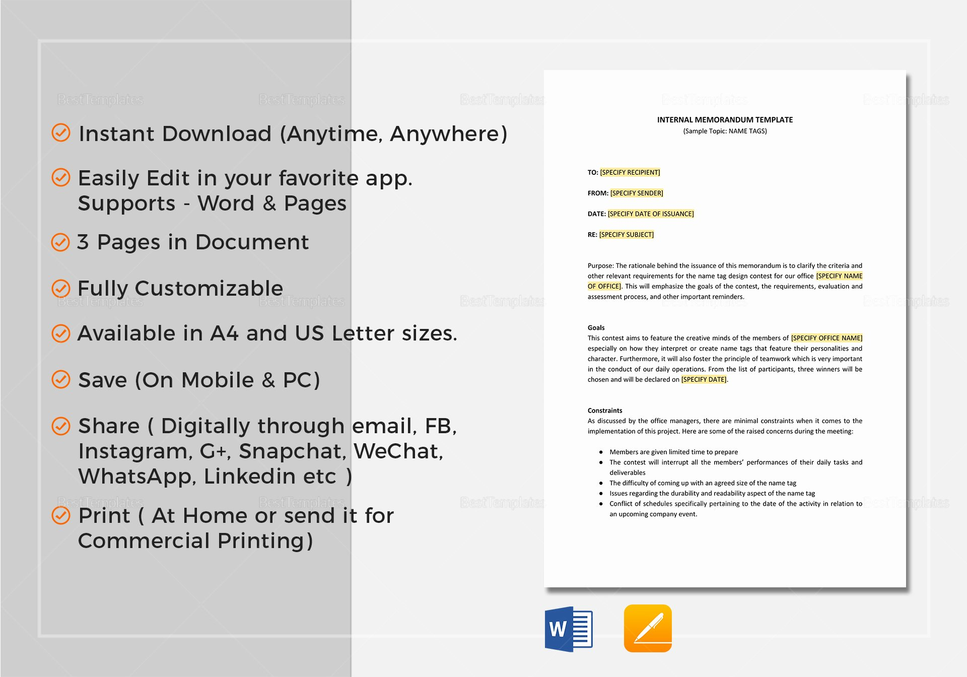 Internal Memo Template In Word Google Docs Apple Pages