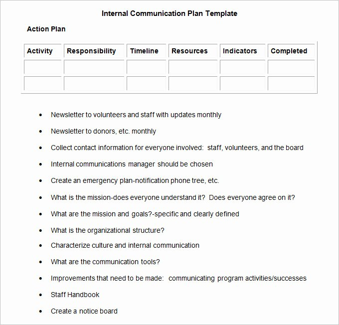 Internal Munication Plan Template 3 Fee Word Pdf