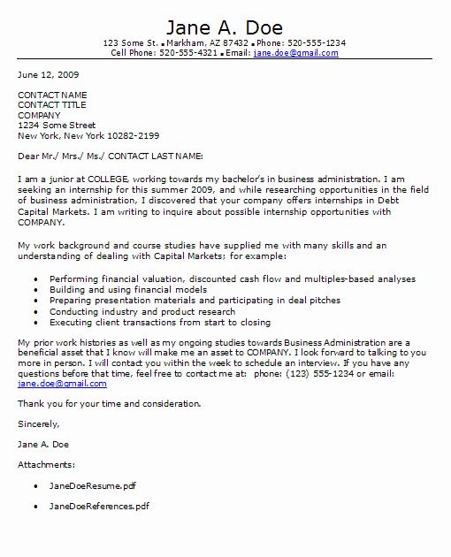 Internship Cover Letter