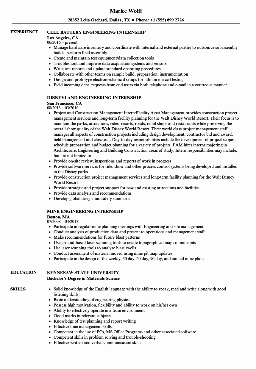 Internship Engineering Resume Samples