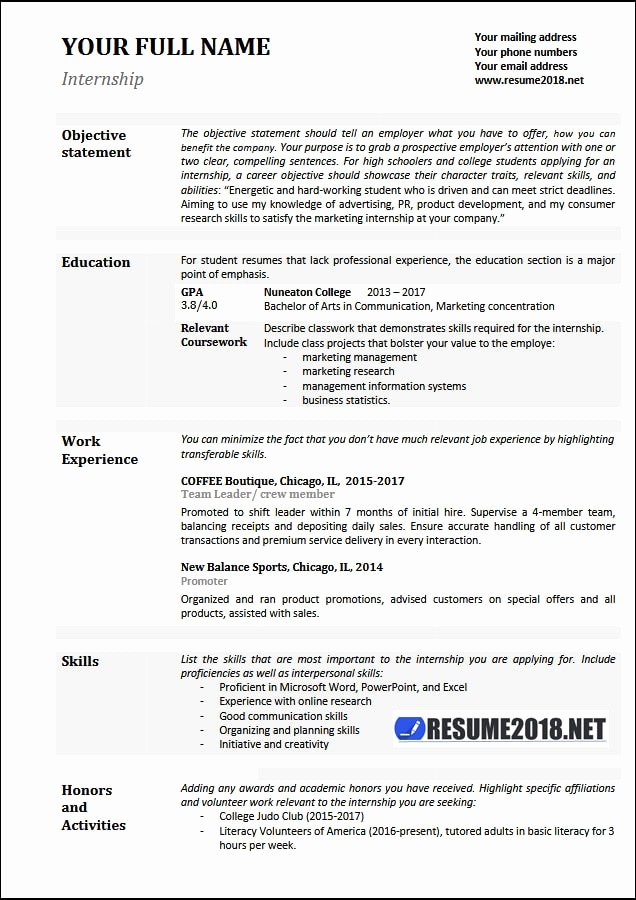 Internship Resume Examples 2018 Resume 2018