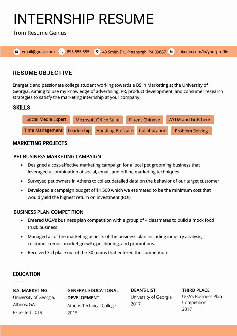 Internship Resume Samples & Writing Guide
