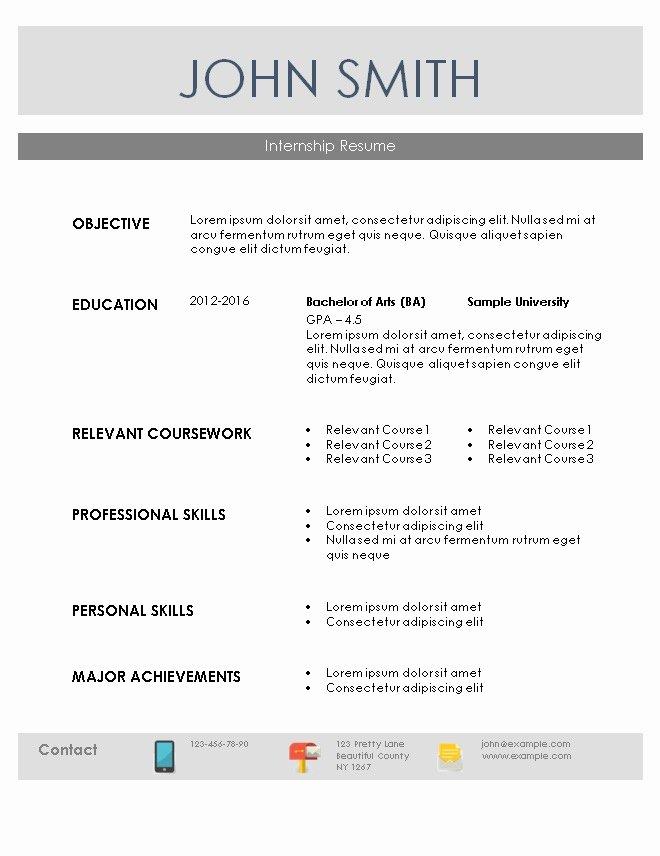 Internship Resume Template