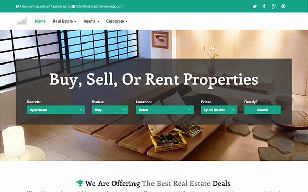 Interstate Real Estate Bootstrap theme