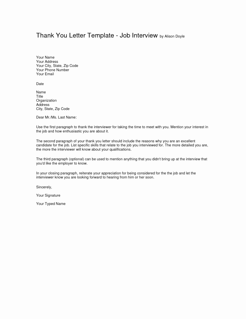 Interview Thank You Letter Template Thank You Letter