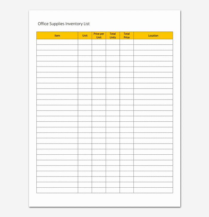 Inventory List Template for Word Excel and Pdf format