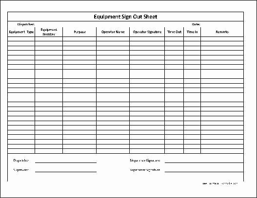 Inventory Sign Out Sheet Template Free Download 20