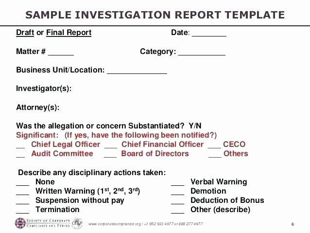Investigation Report Template – Azserverfo