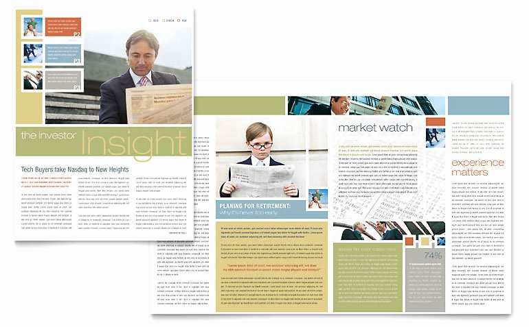 Investment Advisor Newsletter Template Word & Publisher