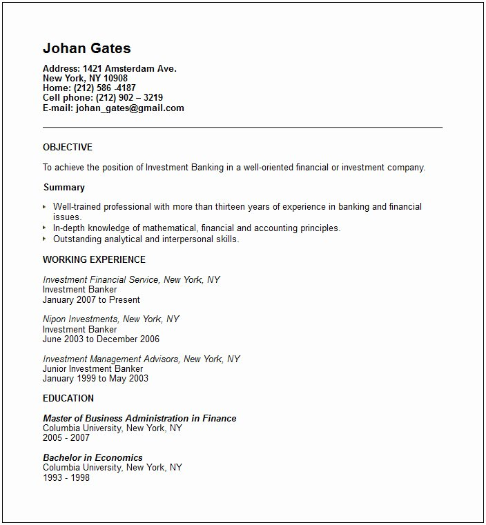 Investment Banker Resume Example Free Templates Collection