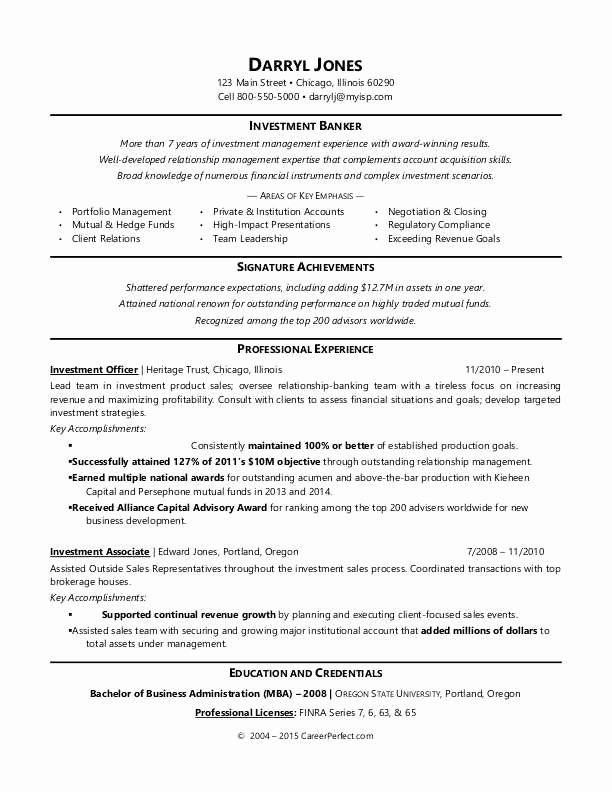 Investment Banker Resume Sample
