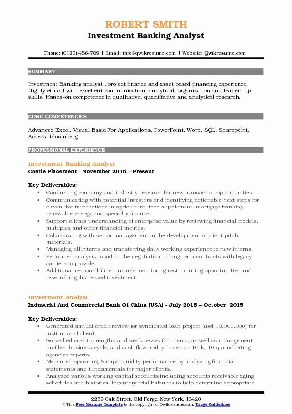 Investment Banking Analyst Resume Samples