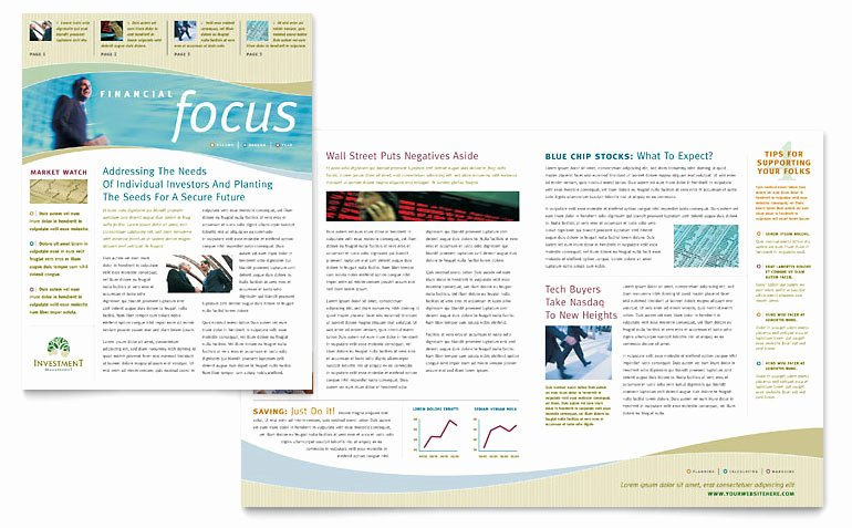 Investment Management Newsletter Template Word & Publisher