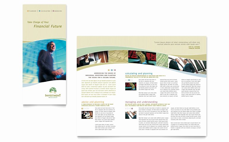 Investment Management Tri Fold Brochure Template Word