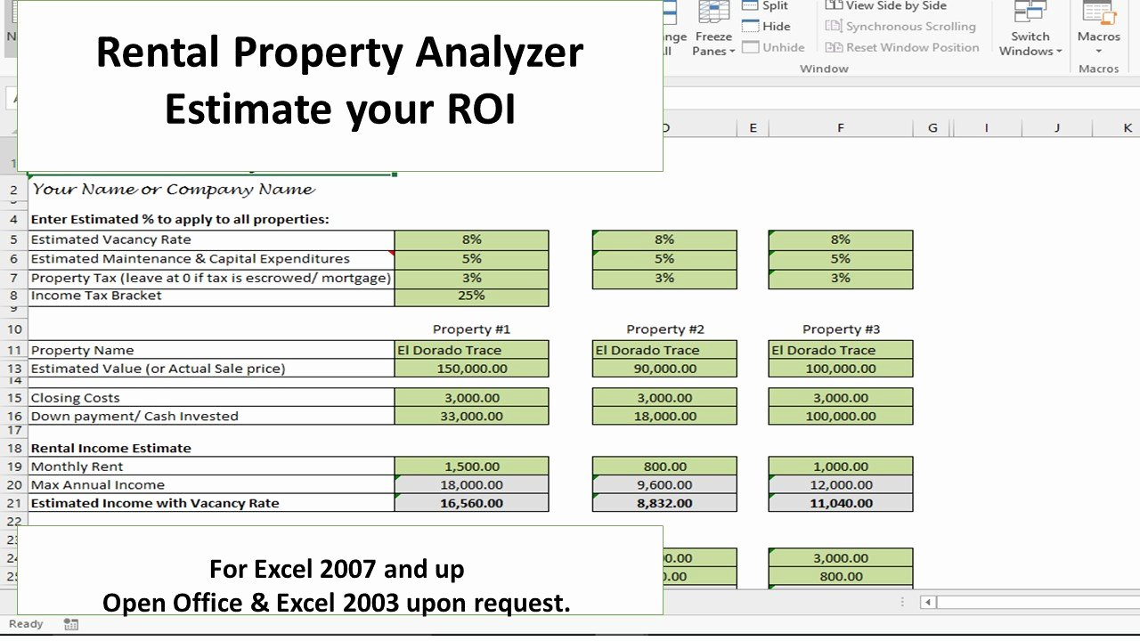 Investment Property Excel Spreadsheet