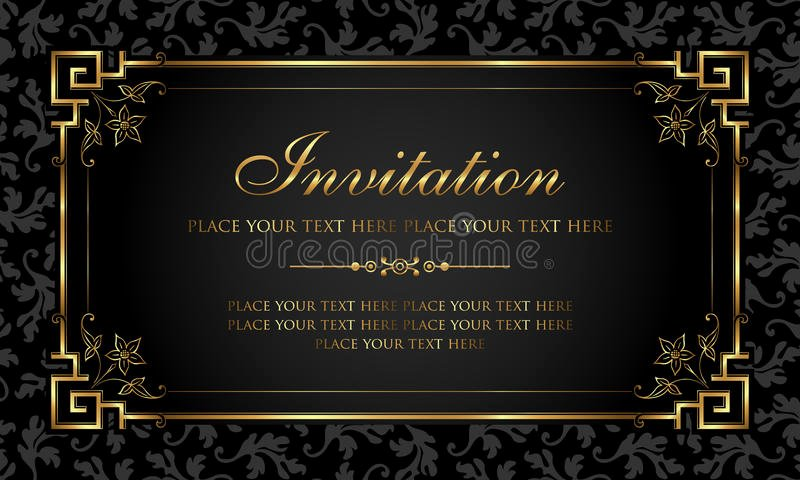 Invitation Card Design Luxury Black and Gold Retro Style