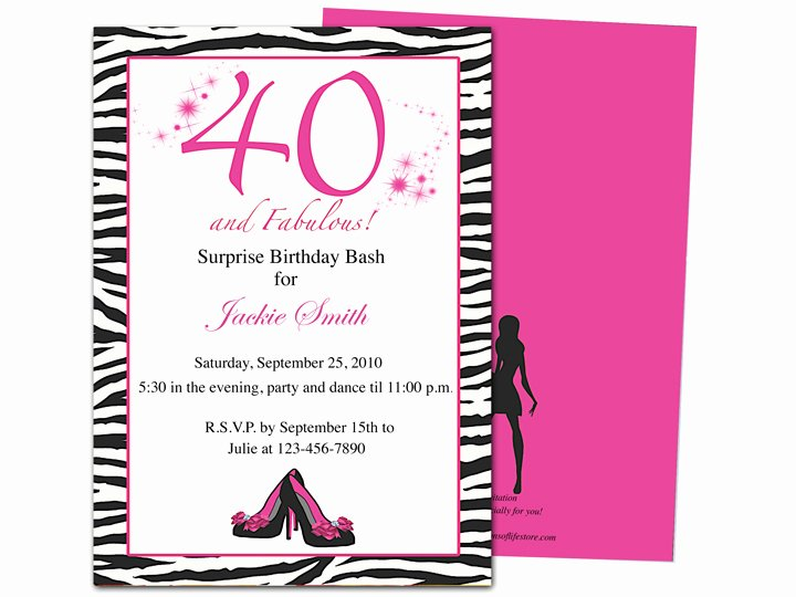 Invitation Templates 40th Birthday Party