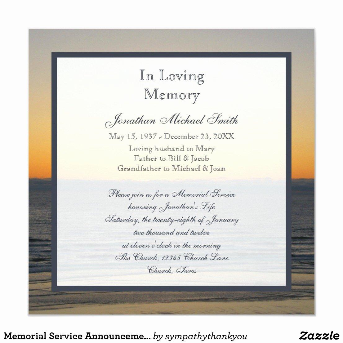 Invitation to A Memorial Service
