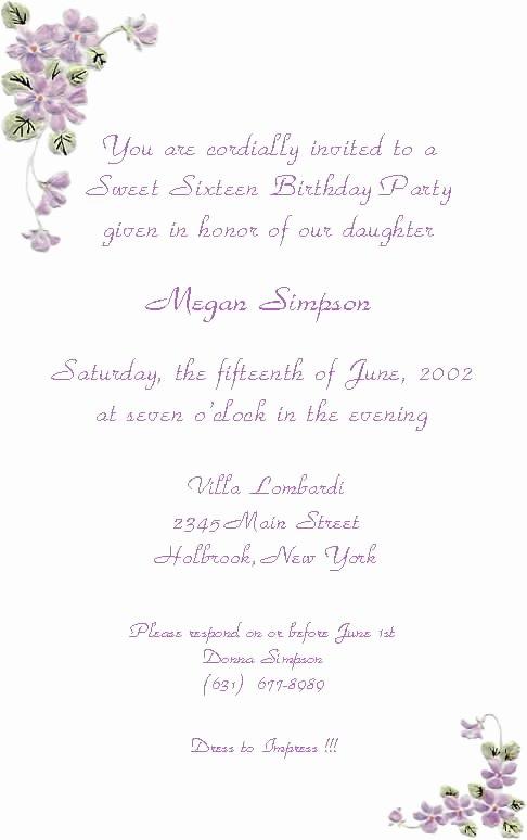 Invitation Wording Sweet 16 Picture Ebookzdb