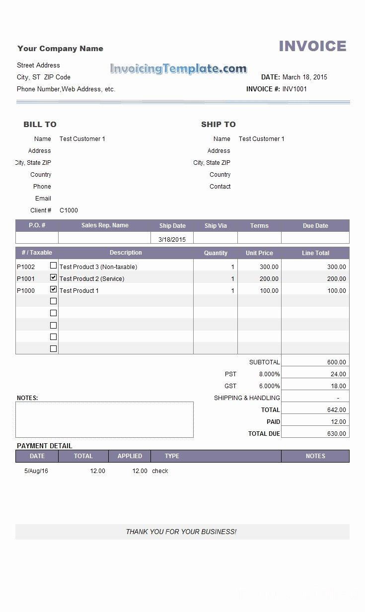 Invoice for Payment Template Invoice Template Ideas