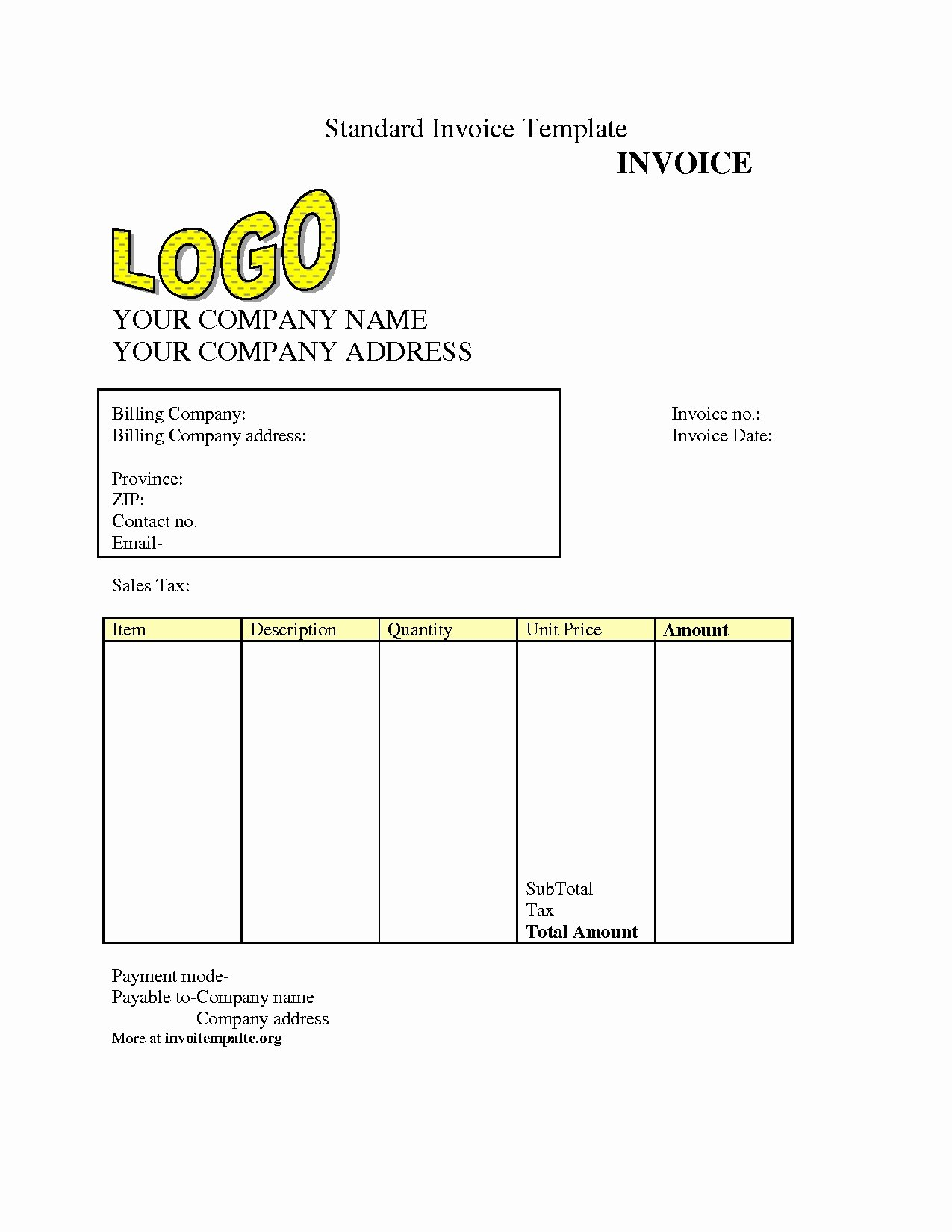 Invoice Template Download Free Invoice Template Ideas