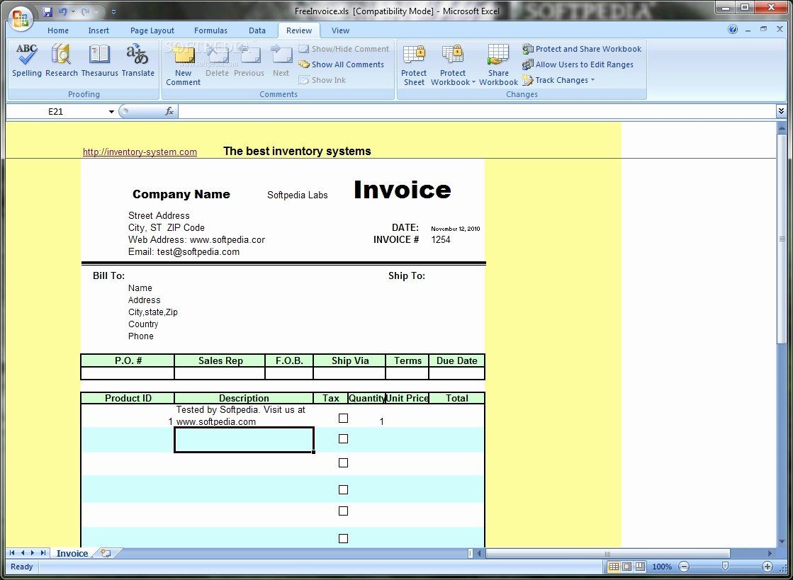 Invoice Template Excel Free Download Invoice Template Ideas