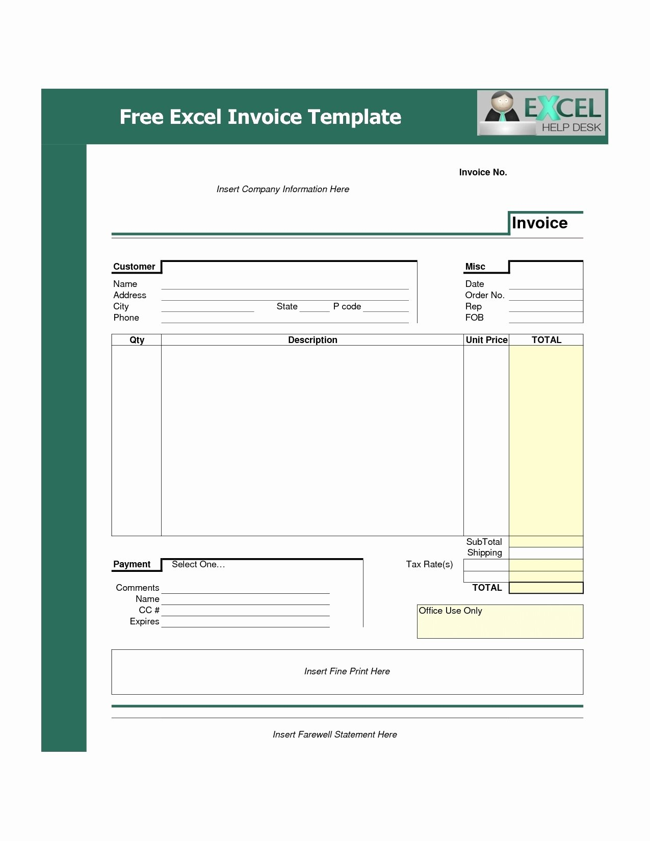 Invoice Template Free Download Excel Invoice Template Ideas