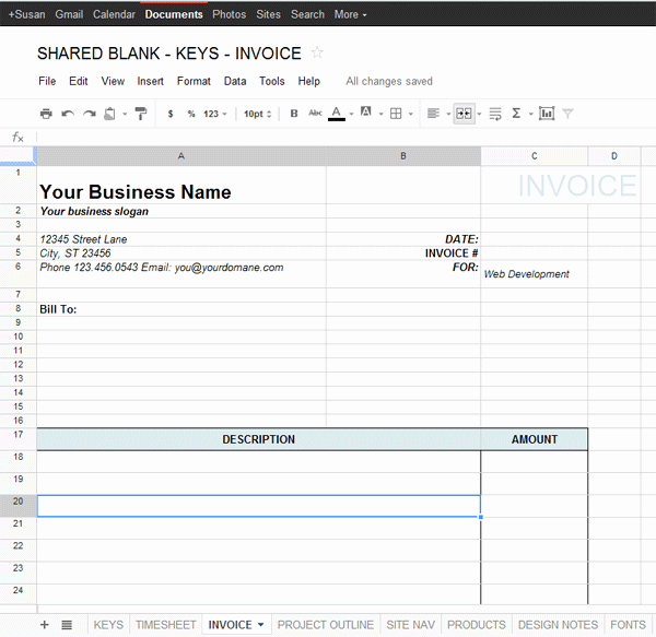 Invoice Template Google Sheets Denryokufo