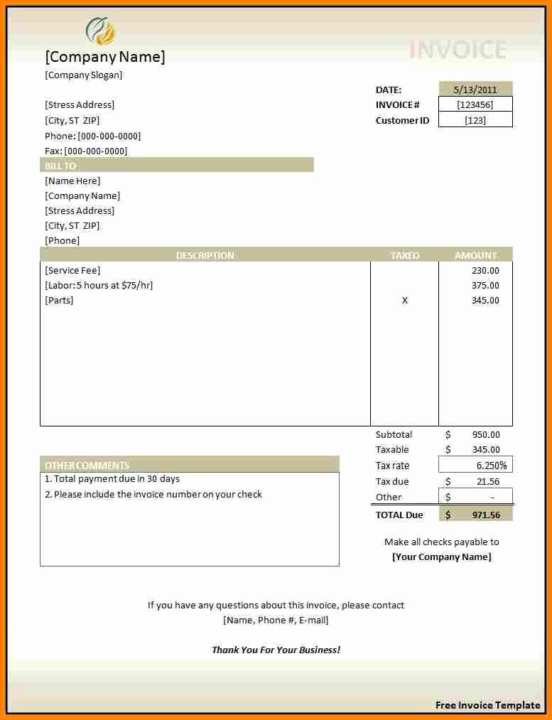 Invoice Template In Excel Free Download Invoice Template
