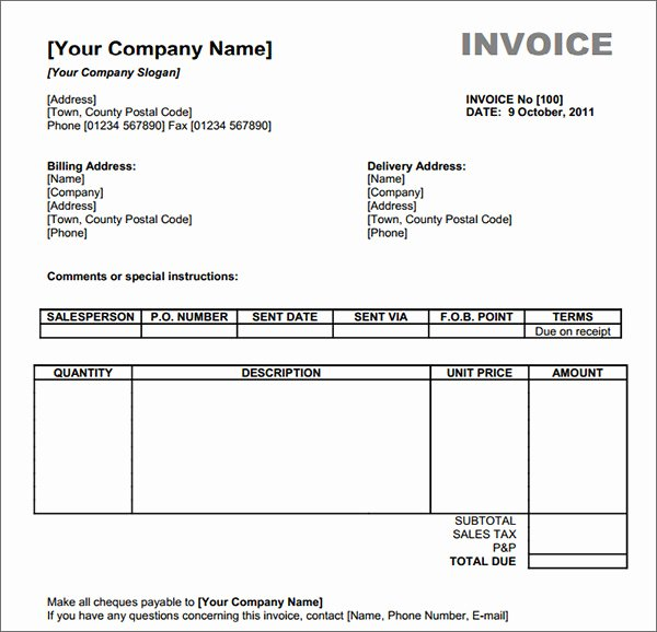 Invoice Template Word 2007 Free Download