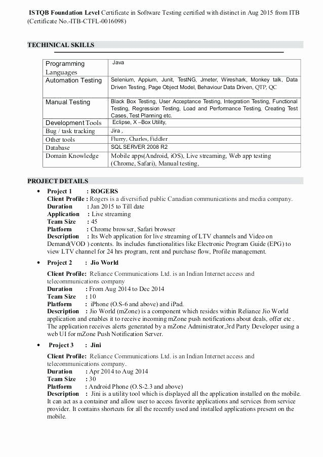 istqb certified tester resume