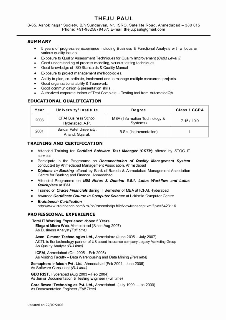 It Business Analyst Resume Entry – Perfect Resume format