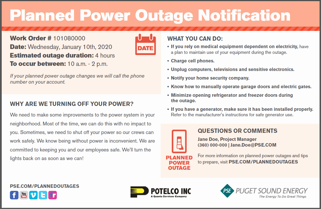 It Possible Outage Notification Template to Pin