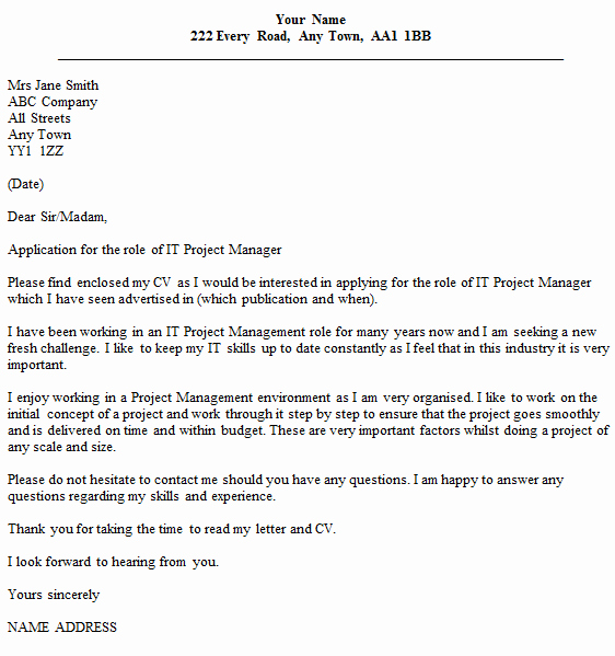 It Project Manager Cover Letter Example Icover