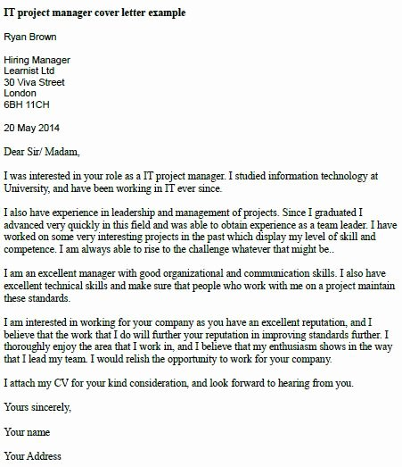 It Project Manager Cover Letter Example Learnist