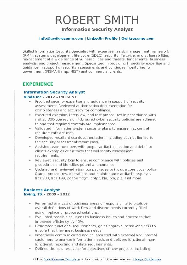 It Security Analyst Resume Samples