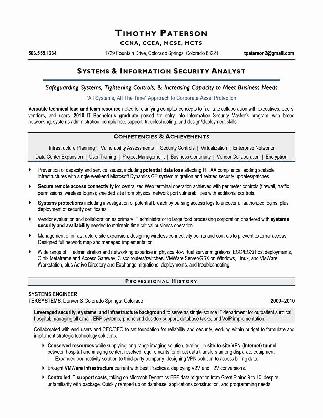 It Security Analyst Sample Resume Executive Resume