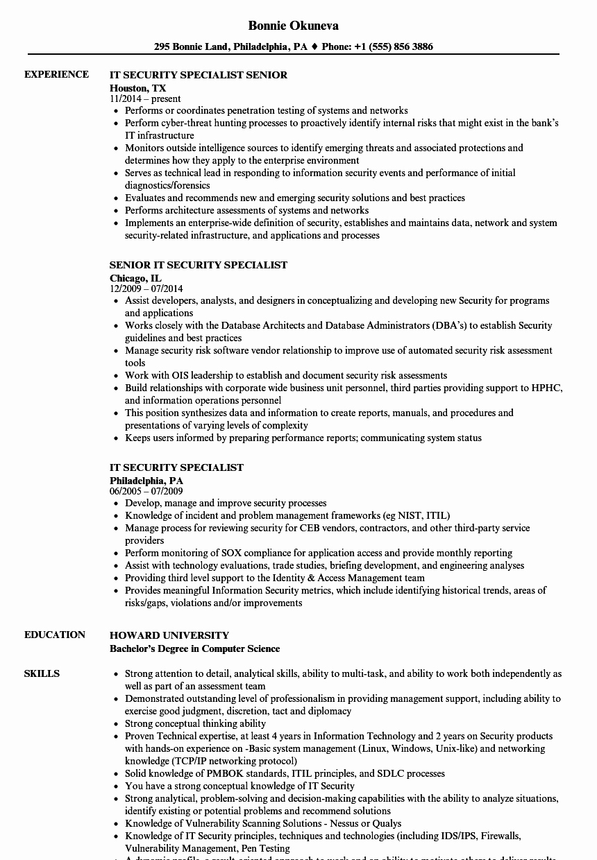 It Security Specialist Resume Samples