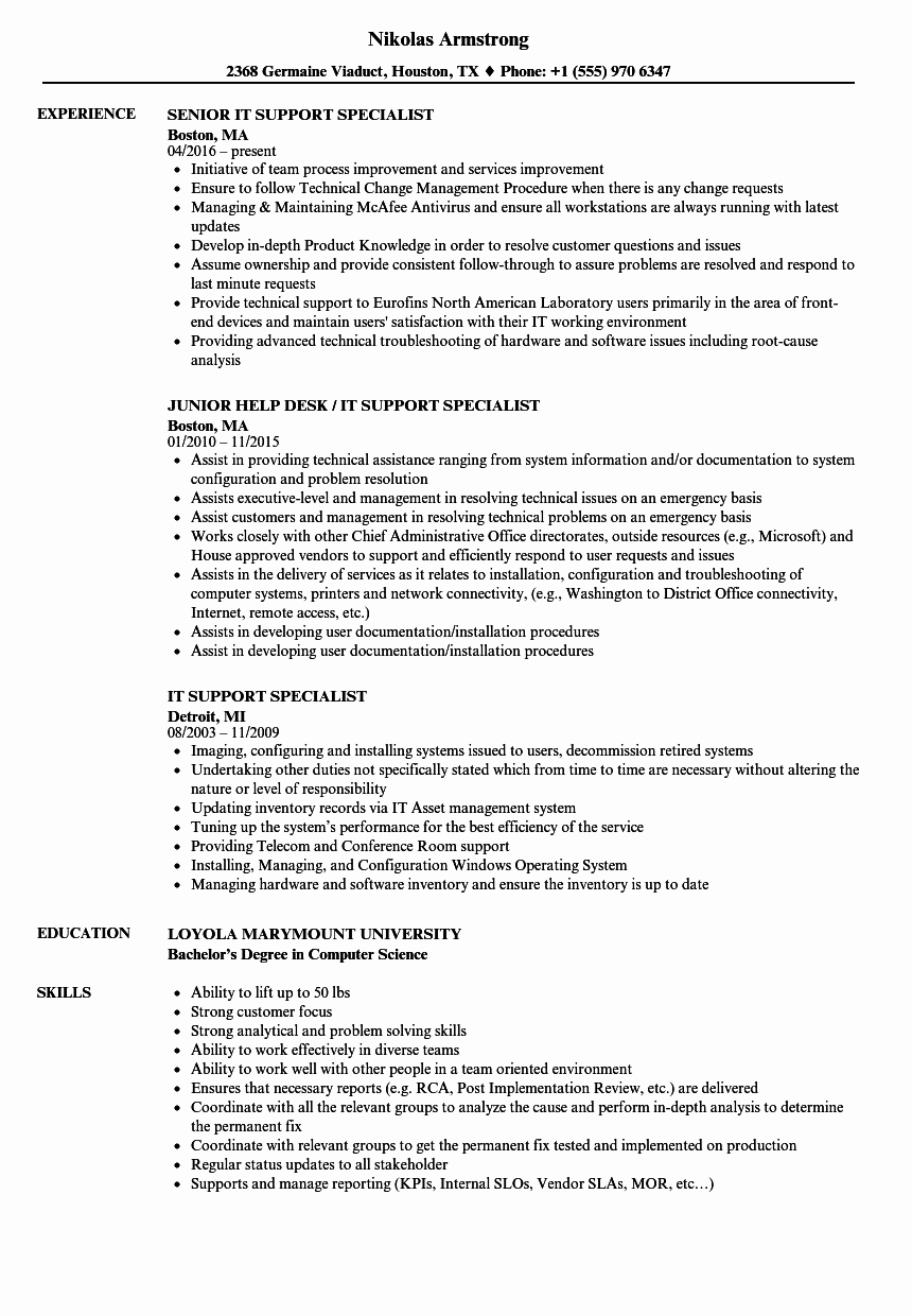 It Support Specialist Resume Samples