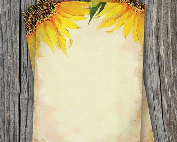Items Similar to Blank Sunflower Wedding Paper 5 X 7 for