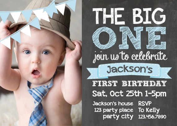 Items Similar to Chalkboard First Birthday Invite Card 1st